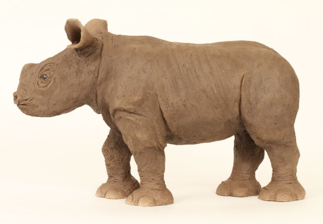 Baby Rhino, Ceramic With Raku Finish