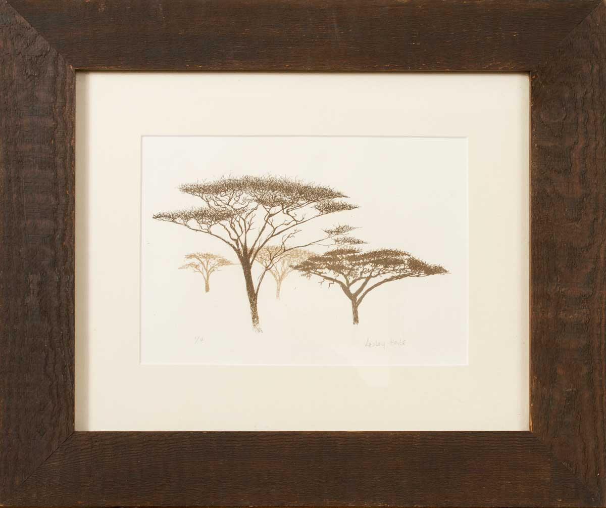 Acacia Trees, Screenprint, Framed
