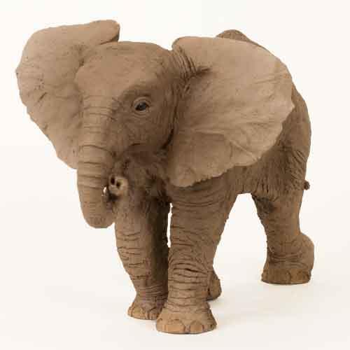 African Elephant Calf, ceramic with raku finish