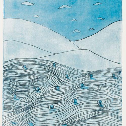 Fields, Hills And Sky, Etch/Aquatint