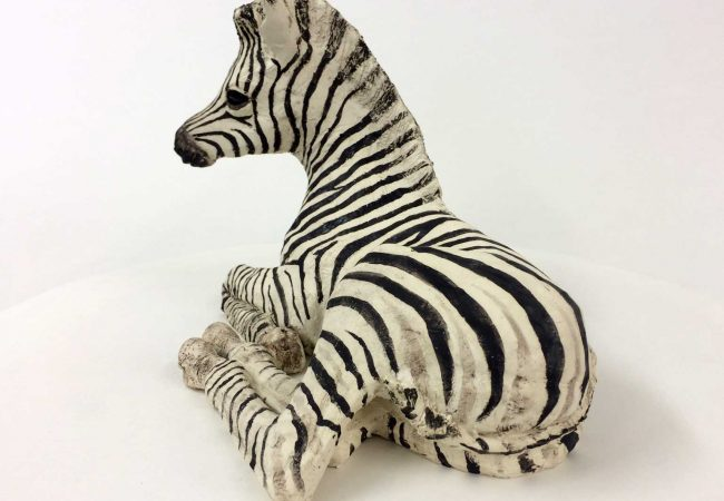 Zebra Foal, Ceramic, By Lesley Prickett