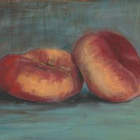 Saturn Or Flat Peaches, Original Painting, Oil On Paper,