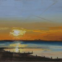 Seasalter Sunset 1, Oil Painting, Postcard Size