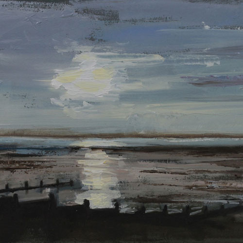 Whitstable Sunset, By Lesley Prickett, Oil On Board.